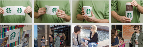 The Moscow version of Starbucks is encouraging people with coffee cups to buy postcards that let you cover up the sleeves of knockoff brands to replace with Starbucks. We want this, except with a generic cup brand, so that we can cover up the fact we went to Starbucks.