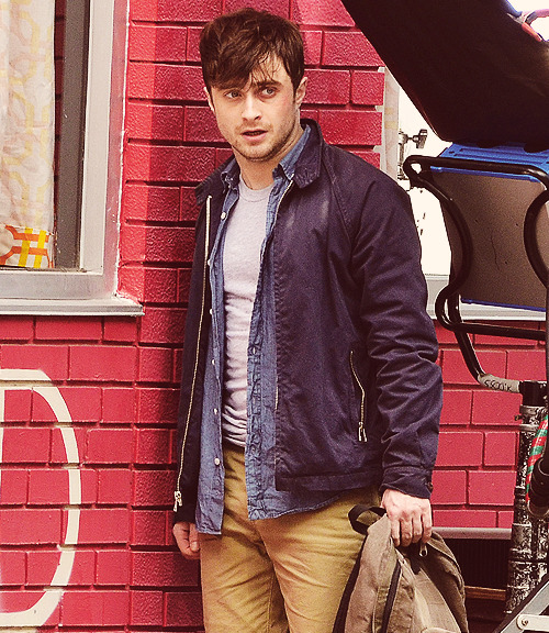 "Daniel Radcliffe spotted on the set of his new movie ""THE F WORD"" in Toronto, Canada, August 20, 2012"