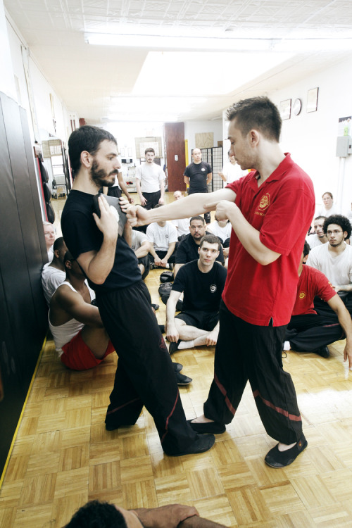 "citywingtsun:  Sifu Alex's story time is the only story time guaranteed to improve your punch! Here, students learn the real mechanics behind the mythical ""one inch punch."" Visit City Wing Tsun on facebook!  it's always funny when you're trying to learn something but at the same time you're also thinking ""Ok, I'm about to get punched….."" Also, the 1-Inch-Punch lesson was pretty awesome."