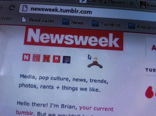 "Newsweek replaces the cursor on its Tumblr site with a coathanger, via a post tagged ""abortion."" Regardless of Todd Akin's douchebaggery, to say this is in poor taste is an understatement.  Sit back, get yourself some popcorn and watch this blow up… starting with Gawker…"