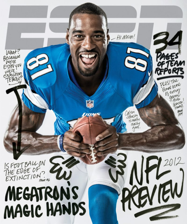 ESPN The Magazine NFL Preview Cover featurig Calvin Johnson also with a Tebow joke.