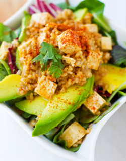 purebeachboho:  foodopia:  spicy peanut tofu rice with avocado: recipe here  ♥