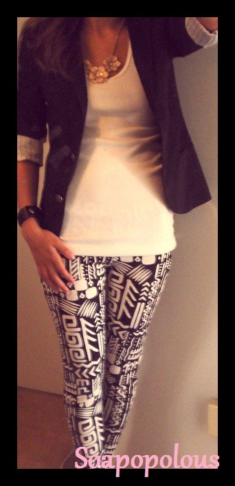Outfit from Friday.  Talula blazer Forever 21 leggings (only $9.80!!). Go here to purchase your own. Forever 21 flower necklace Urban Outfitters bracelet