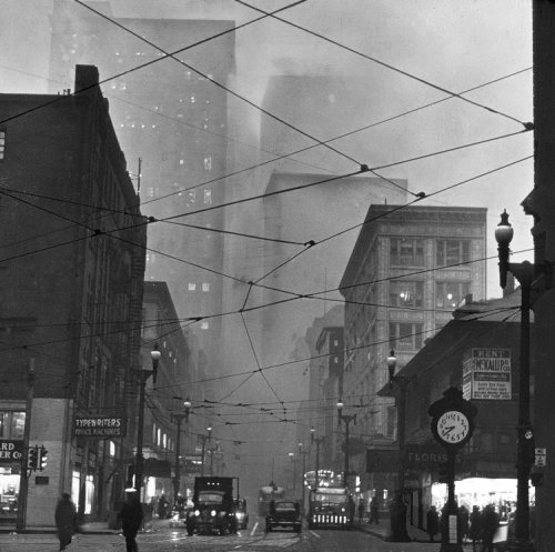 "heurodis:  ""Corner of Liberty and Fifth Avenues 8:38 AM"" 1940 From http://www.theatlanticcities.com/arts-and-lifestyle/2012/06/what-pittsburgh-looked-when-it-decided-it-had-pollution-problem/2185/"