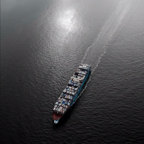 Edith Maersk as seen from a helicopter. #maersk #container #vessel (Taken with Instagram)