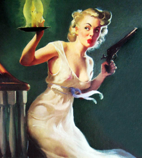 """Looking for Trouble"" by Gil Elvgren,1953"
