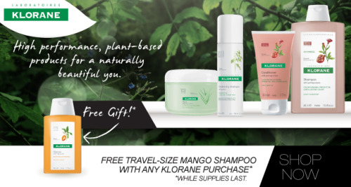 Score a FREE Mango Butter Shampoo with ANY Klorane purchase while supplies last! Stock up on your fave plant-based Klorane goodies & take advantage! http://bit.ly/NipK1N