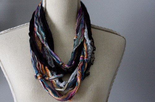 DIY Easy Knotted Scarve Necklace Tutorial from Pop Champagne here. The inspiration for this necklace was Anthropologie's Strung Silk Necklace, but I think Pop Champagne's scarf is perfect for fall. Also the colors and textures she used are so well done. You could also do this with the right type of fabrics.