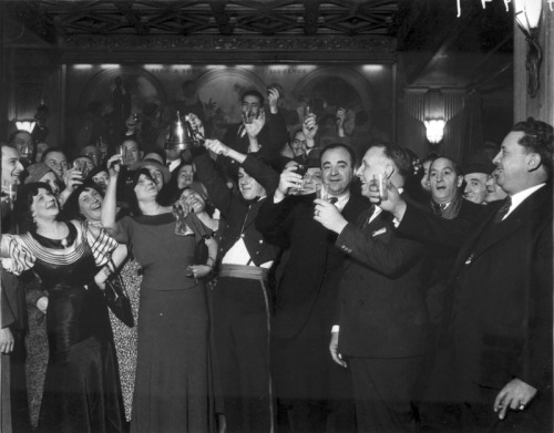 chicagohistorymuseum:  People celebrating the repeal of Prohibition, 1933. Photograph from Chicago Daily News.  Want a copy of this photo?  > Visit our Rights and Reproductions Department and give them this number: ICHi-23953 Connect with the Museum