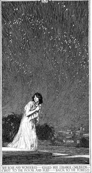 Pen & Ink drawingIllustration by Franklin BoothShe rose and wondered…kissed her strange children crept to the door and fled…back to the forest.
