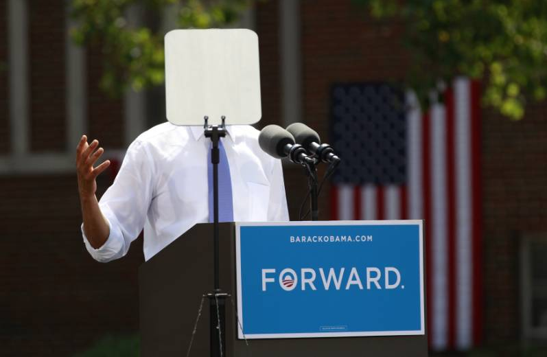 reuters:  A teleprompter obscures U.S. President Barack Obama as he speaks during a campaign event at Capital University in Cleveland, Ohio August 21, 2012. Obama is on a two-day campaign trip to Ohio, Nevada and New York. [REUTERS/Kevin Lamarque] REUTERS.COM: More photography from Reuters  This is no doubt the best POTUS-teleprompter photo ever.