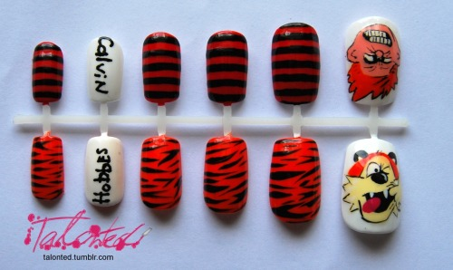 Calvin and Hobbes nails…  One of my friends requested some Calvin and Hobbes nails. Ask and you shall receive! Custom orders taken here: www.talonted.bigcartel.com Lex :)