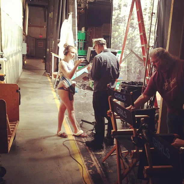 spotlightning:  doin work. no pants. #hero  lena dunham on set of girls