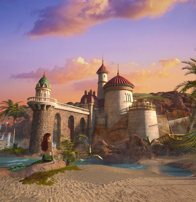 A Disney Signature Image featuring Ariel infront of Prince Eric's Castle which houses Journey of the Little Mermaid, a part of the New Fantasyland opening in December 2012.