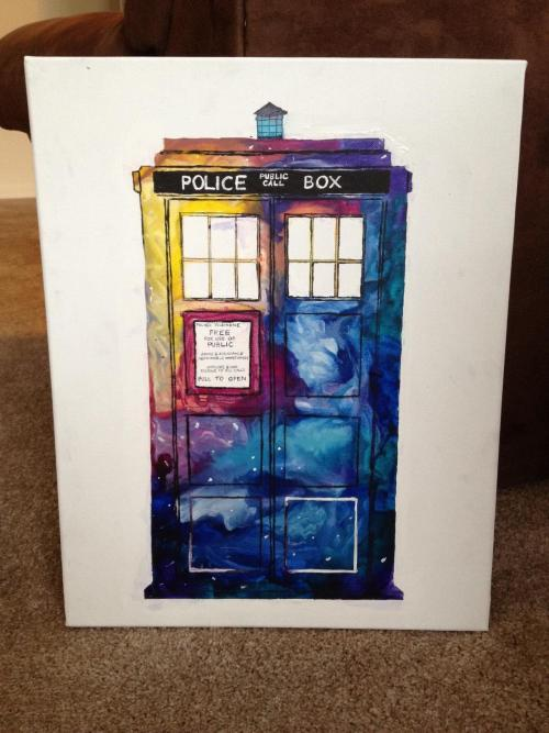 napoleonbonerhard:  daringartisticadventurer:  Melted crayon TARDIS :)  GET THE FUCK OUT