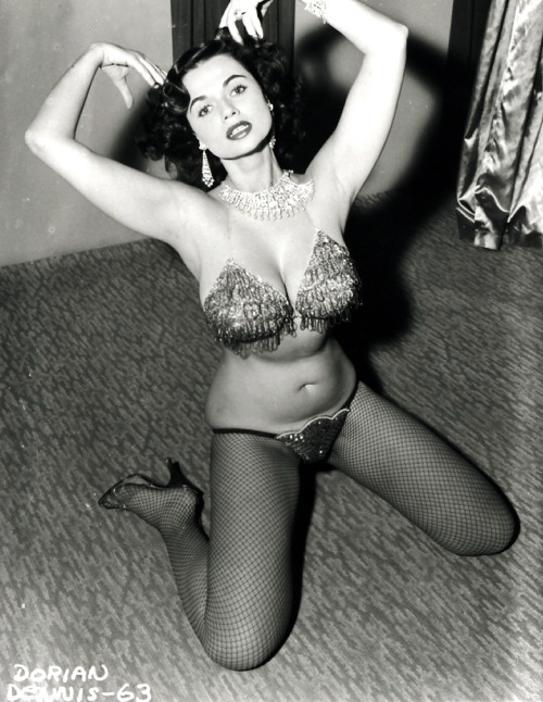 Burlesque dancer Dorian Dennis photographed by Irving Klaw c. 1950's