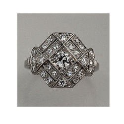 Ring Of The Day!  Today's Ring Of The Day is this stunning Art Deco Platinum Old European Cut Diamond Engagement Ring Circa Early 1900′s. This gorgeous art deco platinum engagement ring contains 1 center old european cut diamond weighing approximately 0.25 carats with approximate H color and VS clarity. Impress that special someone with this one of a kind ring!