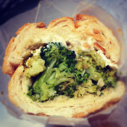 Broccoli sandwich with Lychee muchim, ricotta salata, and pine nuts.