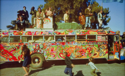 "The Merry Pranksters and their colorful ""Further"" bus."