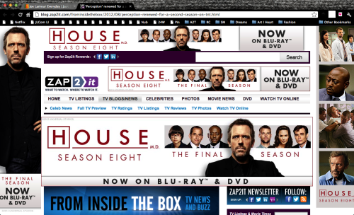 I think Zap2It may be going a little overboard with it's House advertising.