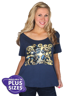 Dr Who Van Gogh Wide Scoop Tee by HerUniverse.com Just like Vincent Van Gogh we couldn't get the image of the exploding Tardis out of our heads! We loved this painting so much that we had to capture it on a top! This beautiful print is accented with highlights of gold foil. You'll love this flattering box tee with a wide scoop neck!  100% Cotton  Loose Fit Wide Scoop Neck Tee. L-XXL $28, 3X $30, 4X, $32
