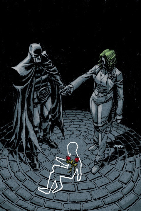 "daydreamer-kay-em:  ""This is an alternate universe where Bruce Wayne died instead of his parents. Causing His father Thomas Wayne to become Batman and his mother Martha to go insane and become the Joker. ""    DAVE JOHNSON ART AN IMMENSELY MORE INTERESTING STORY  This story was probably the best thing to come out of Flashpoint, and I really wish we could have seen more from it than just the three issue mini."