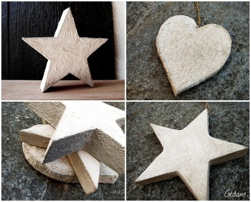 DIY Foam Dipped in Concrete Star Tutorial from gedane here. This is such a clever idea for getting the look of concrete that's lightweight and an alternative to casting something in concrete: use dense foam and dip in slushy consistency concrete. For more details go to the link. You could do any size you wanted, even tiny to hang on a pendant (just sand the back) *I used Chrome to automatically translate this tutorial from French to English.