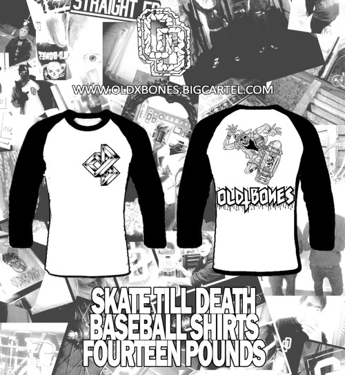 oldxbones:  New shirts up for pre-order Friday.  Hand printed on high quality Continental 3/4 sleeved baseball shirts. www.oldxbones.bigcartel.com