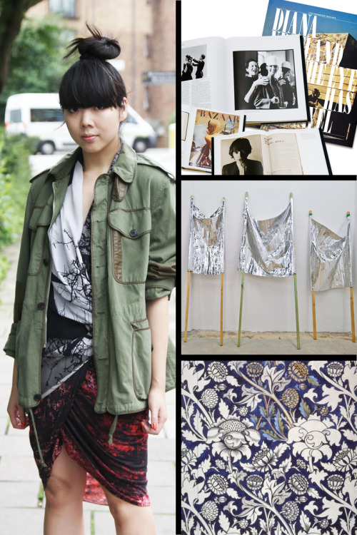 "GUEST BLOGGER SERIES Q&A: SUSIE LAU OF STYLE BUBBLE Tell me about the Fall 12 Helmut Lang / HELMUT essentials you selected.   The outerwear that I chose conveys the overriding protective theme of the season - the big hooded puffa and the oversized fur collar on the leather jacket are all good for pulling up to your face to protect you from the elements.  Then I chose some of the printed fluid pieces such as the jersey skirt and the printed chiffon dress which are always such a feature in Helmut Lang. What's your Jam of the moment?  Bloc Party's new track Octopus Your all time favorite cult-film is ____ Todd Solondz's Welcome to the Dollhouse  What's the last great art show you've seen?  The Gabriel Kuri exhibition at the Kurimanzutto gallery in Mexico City Best meal you've ever had was at ____ An amazing seafood feast in Hong Kong's Saigon area.   What's currently trending in your wardrobe?  William Morris type florals.   Who/ What are your main sources of style inspiration? Whatever I see/looking at - films, books, art, weather, magazines, people… anything really.   What music festival/ concert are you most looking forward to this summer?  Port Eliot.  It's not strictly a proper music festival but I love the blend of literature, comedy, fashion, music and art.   What is NY's best kept secret? Not really a secret but Fox & Fawn vintage in Greenpoint is great.   Reading any books you can't put down?  Re-reading Lucy Siegle's ""To Die For"" Tell us about your ""ah-ha"" moment that made you start blogging. There as no ""ah-ha"" moment. It was more like ""Ahhhhh…. I'm bored.  I know!  I'll start a blog to kill time!"" We can't get enough of Instagram. What's your favorite filter? I only just got on to Instagram (I'm an ANDROID user!) Favorite coffee table book you own is ____ Diana Vreeland's ""The Eye Has to Travel"" Have any summer getaways planned? Not yet… might be heading out to Hong Kong for a few days.   Top 3 Favorite personalities you follow on Twitter are ____ Alex Fury, Giles Coren and Issac Lock.   You never leave the house without ____ My camera.   Any new digital discoveries?   http://ilikethisart.net - not exactly underground but it's such a good round-up of everything…  Your vice is ____ McCoy's crisps (what you guys call chips).  They're quite calorific but I can literally go through mountains of them.   What's your current social media addiction and why? I'm quite into Weibo (Chinese Twitter) - gives me a chance to brush up on my poor Chinese writing/reading skills.   SHOP THE LOOK. CLICK HERE FOR MORE FROM THE GUEST BLOGGER SERIES"