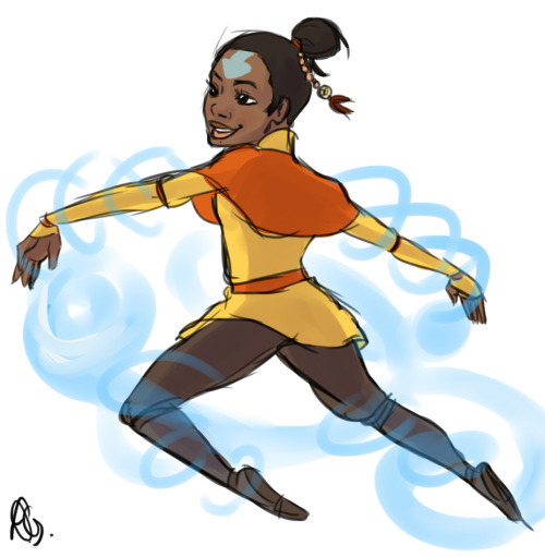 Quick Airbender Gabby Douglas sketch for littlelionheartedavatar I hope you feel better c: