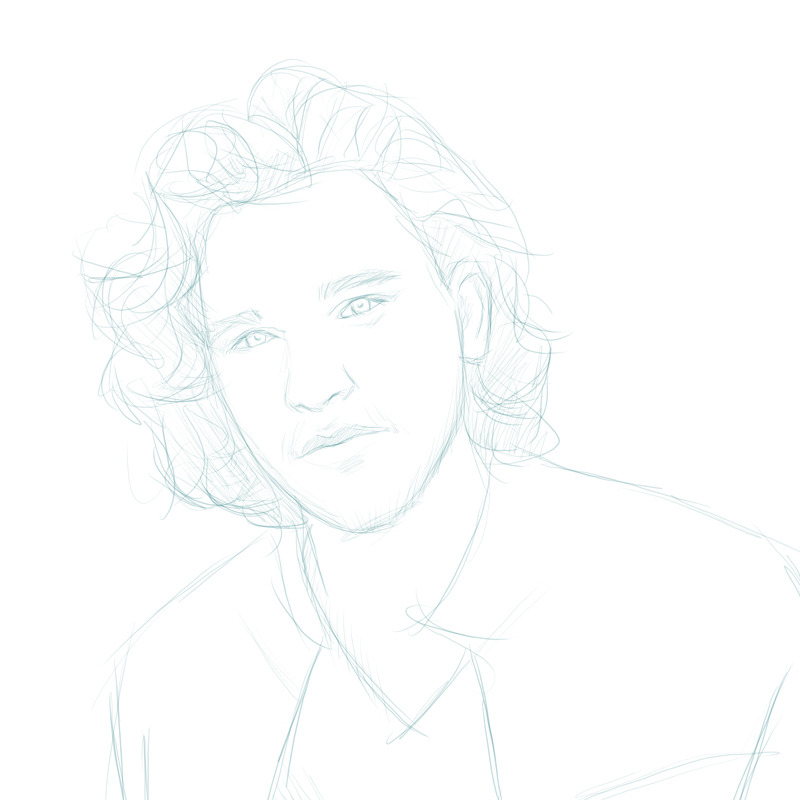 Super freehand sketch in 10 minutes. Kit Harington.