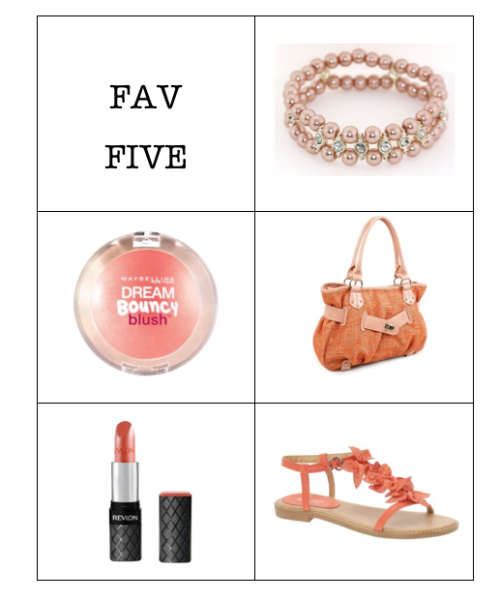 createthislookforless:  FAV FIVE Peach Pearl Beads with Rhinestones Maybelline New York Dream Bouncy Blush, Peach Satin Peach Woven Straw Satchel Revlon ColorBurst Lipstick, Peach ALDO Langham - Women Flat Sandals