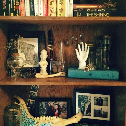 Reorganizing my shelves. (Taken with Instagram)