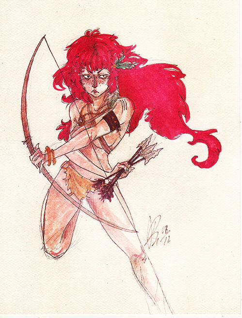 tribe warrior girl ( copic markers and golden paint )