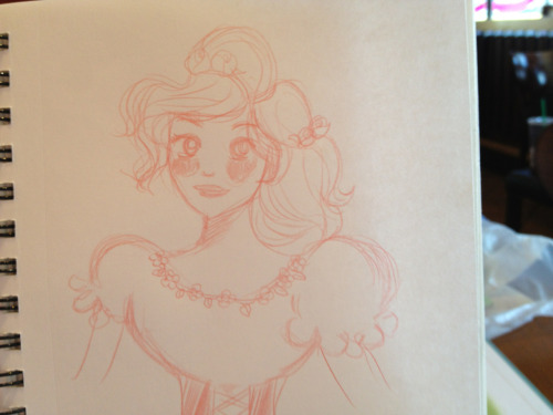 My attempt at sketching Cinderella. Looks weird, but I'm trying.