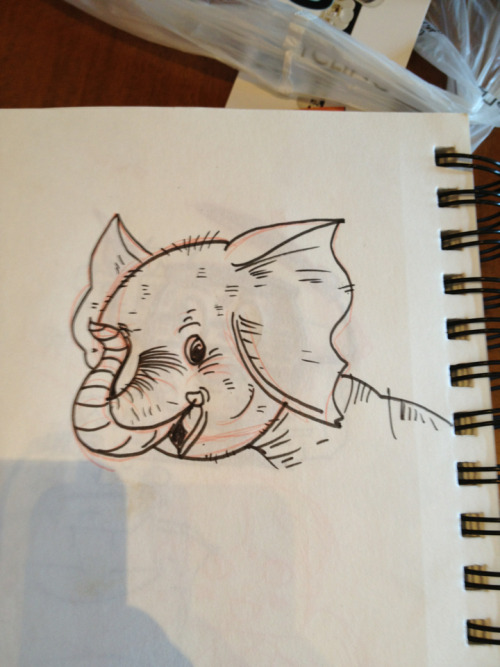 An elephant baby I sketched today. Elephants remind me of my late mother, so I like to sketch them from time to time.
