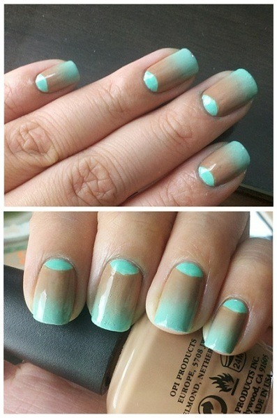 beautylish:  Dana A. creates a half-moon and gradient manicure!