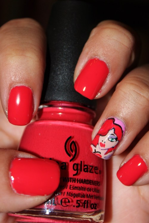 My attempt at Jessica Rabbit or some hott chick using China Glaze's Make Some Noise.Enjoy! :)