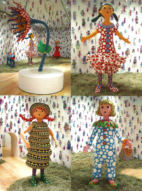 hopondatr33s:  Hi, Konnichiwa (Hello!), 2004. Yayoi Kusama Hanako (top, left), Miiko-chan (top, right), Taa-chan (bottom, left), Nao-chan (bottom, right)
