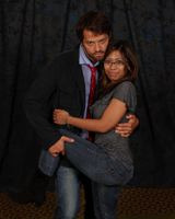 My (blurry, small) photo op with Misha Collins from NJCon! I look so traumatized…