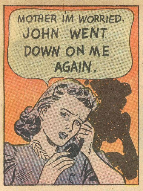 1950sunlimited:  Hmmm. Why don't you let me talk with him in private…  This is an original Twisted Vintage blogspot image - stolen by Retrogasm. What a fucking loser