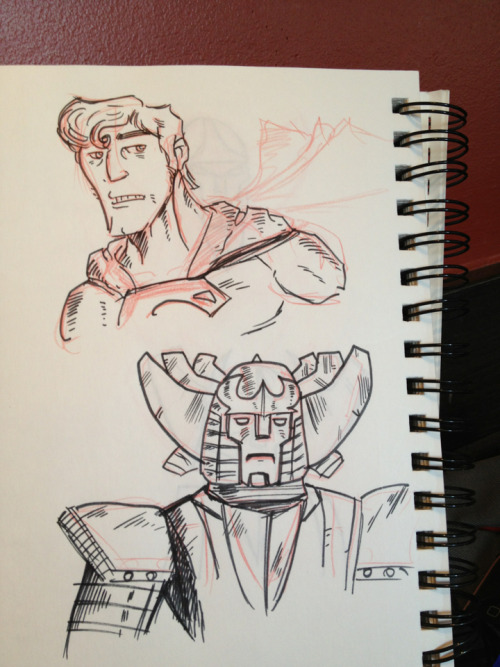 Inked sketches of superman and some robot based on red ronin from marvel comics.