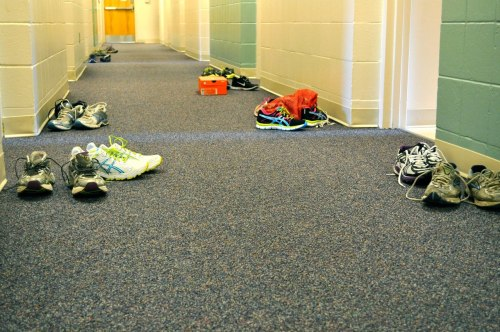 mountainsofbliss:  Preseason training, runner's hallway. All we do is run, eat, and sleep.