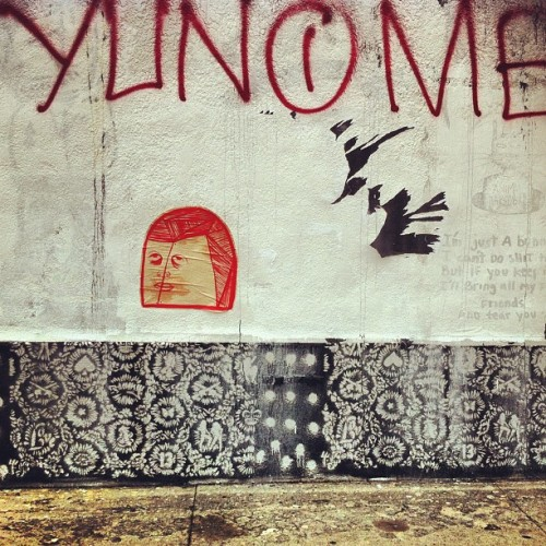 Love this wall. Unknown artist. #wheatpaste #wall #texture #wynwood #miami #miamistreetart #streetart #spray #graffiti  (Taken with Instagram)