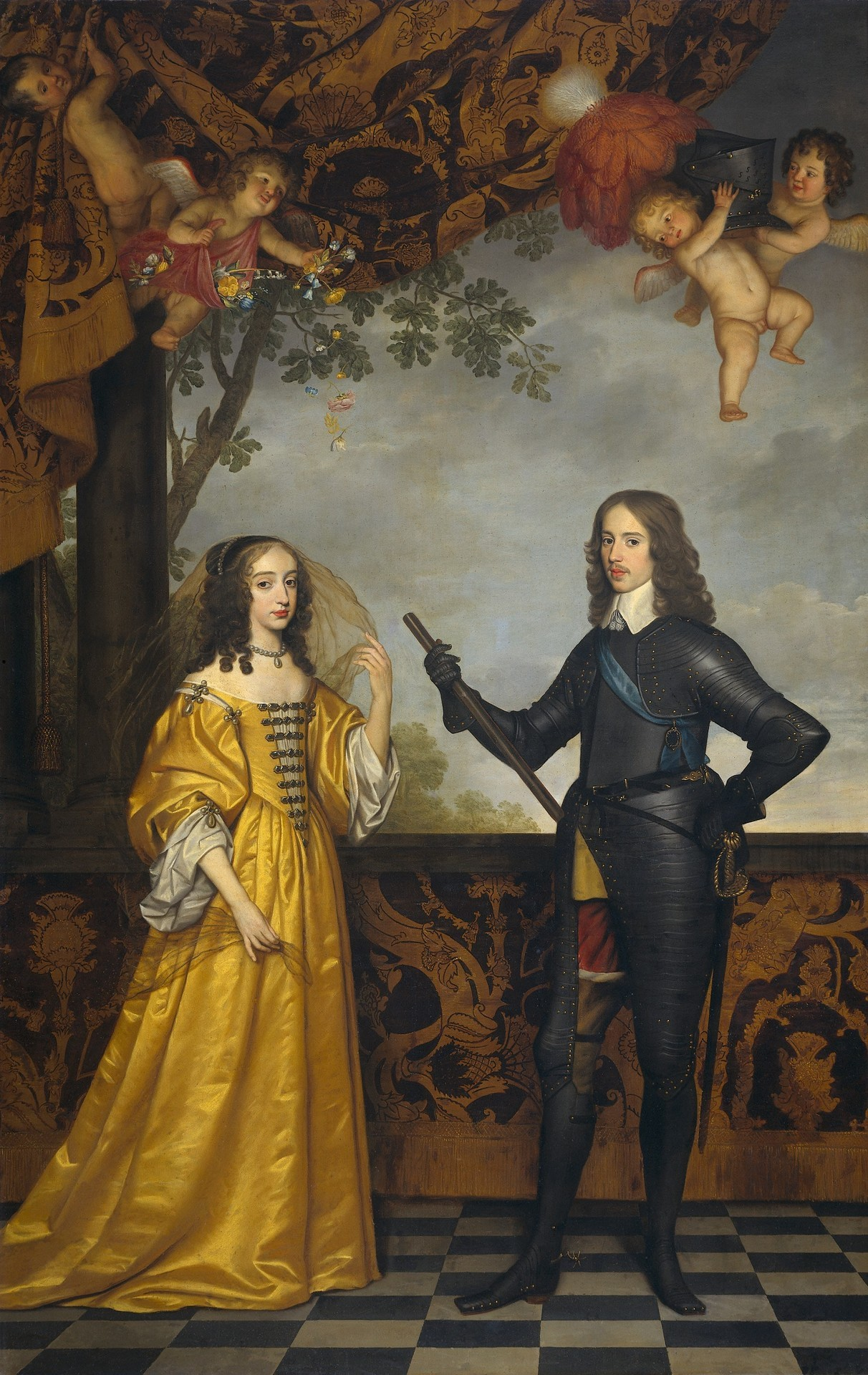 hothistoricalfigures:  On the right is Prince William II of Orange, ruler of the Netherlands in the mid-seventeenth century. To his left is Mary Stuart, daughter of Charles I of England and William's wife (if that sounds complicated, wait until I get round to William's son, William, who married Mary's niece, Mary). This picture shows the pair looking fantastic, Mary shimmering in a gorgeous dress and William showing off in his tight black catsuit. Those cherubs are probably squabbling over who gets to try it on with them. If they aren't blood relatives, they need not bother.