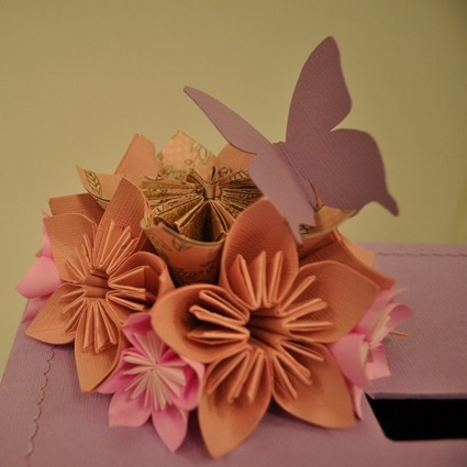 Ang pao box with paper flowers bouquet, paper butterfly, paper string sides, and couple initials in a frame. [The wedding of Vinodh & Leela - 22 August 2012]