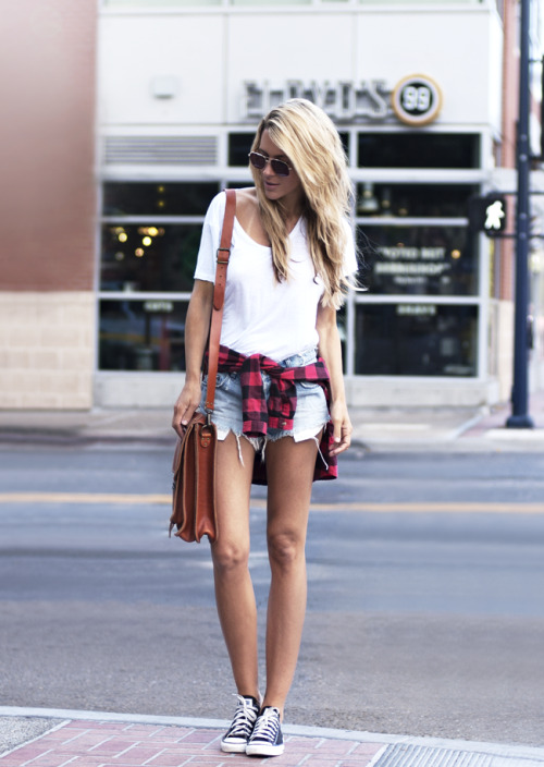 what-do-i-wear:  Sunglasses - Vintage, Tee - J Brand, Flannel - Urban Outfitters, Shorts - Ksubi, Satchel - Grafea, Shoes -Converse (image: thenativefox)