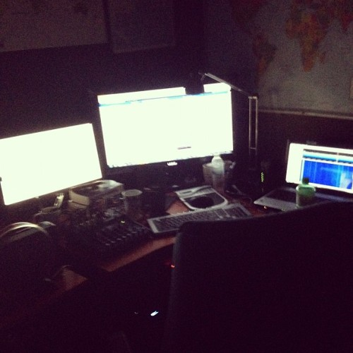 Nighttime in the home weather office (Taken with Instagram)