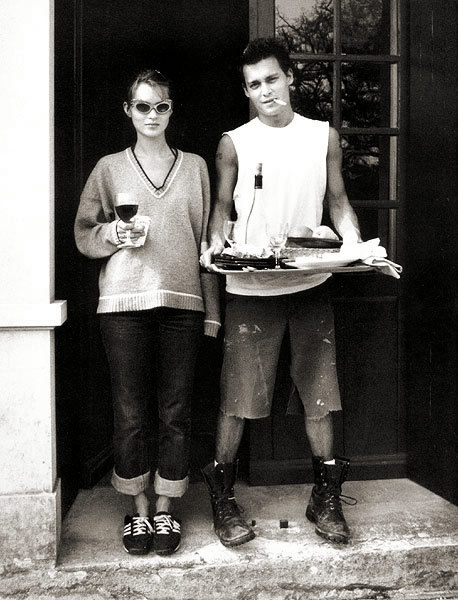 suicideblonde:  Kate Moss and Johnny Depp in 1994