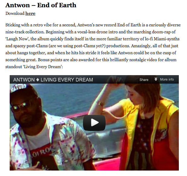 Nice words about Antwon's End of Earth from Drowned in Sound.